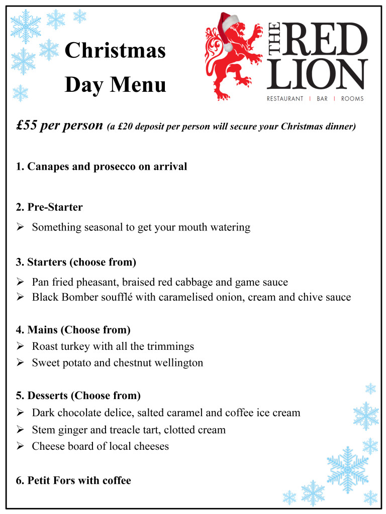 The Red Lion Christmas Day Menu 2017