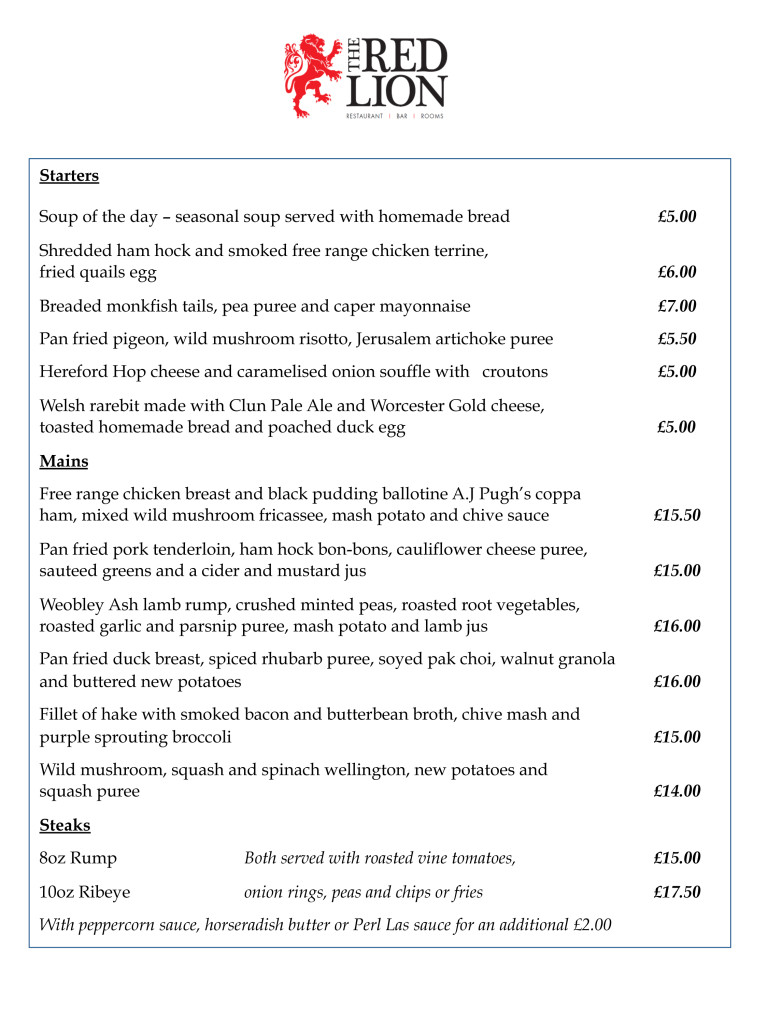 The Red Lion March Menu Pg1