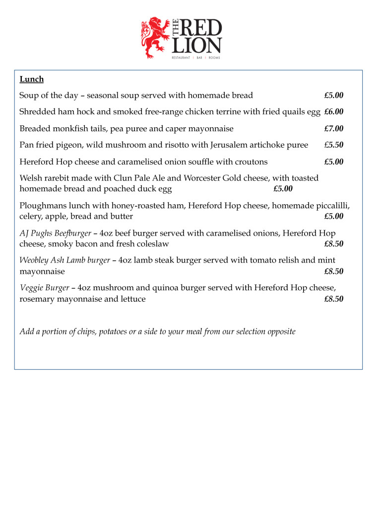 The Red Lion March Menu Pg3