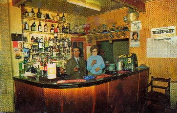 Millie & Ivor Phillips behind the bar at The Red Lion. They took over this pub around 1960